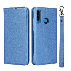 Ultra Slim Magnetic Automatic Suction Silk Lanyard Leather Flip Cover for Huawei P30 Lite - Sky Blue