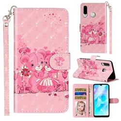 Pink Bear 3D Leather Phone Holster Wallet Case for Huawei P30 Lite