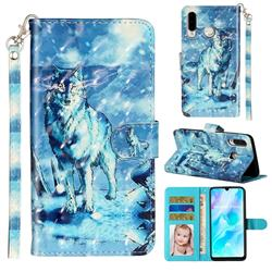 Snow Wolf 3D Leather Phone Holster Wallet Case for Huawei P30 Lite