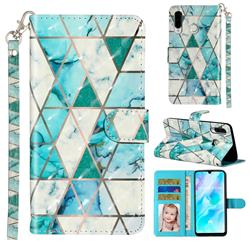 Stitching Marble 3D Leather Phone Holster Wallet Case for Huawei P30 Lite