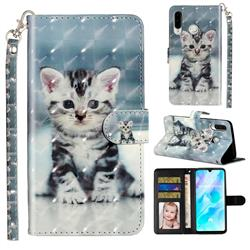 Kitten Cat 3D Leather Phone Holster Wallet Case for Huawei P30 Lite