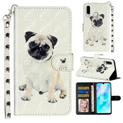 Pug Dog 3D Leather Phone Holster Wallet Case for Huawei P30 Lite
