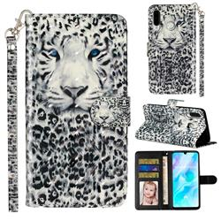 White Leopard 3D Leather Phone Holster Wallet Case for Huawei P30 Lite