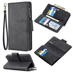 Binfen Color BF02 Sensory Buckle Zipper Multifunction Leather Phone Wallet for Huawei P30 Lite - Black