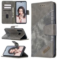 BinfenColor BF04 Color Block Stitching Crocodile Leather Case Cover for Huawei P30 Lite - Gray