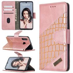 BinfenColor BF04 Color Block Stitching Crocodile Leather Case Cover for Huawei P30 Lite - Rose Gold