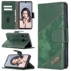 BinfenColor BF04 Color Block Stitching Crocodile Leather Case Cover for Huawei P30 Lite - Green