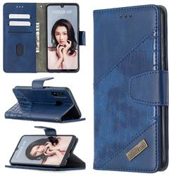 BinfenColor BF04 Color Block Stitching Crocodile Leather Case Cover for Huawei P30 Lite - Blue