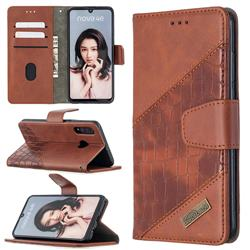 BinfenColor BF04 Color Block Stitching Crocodile Leather Case Cover for Huawei P30 Lite - Brown