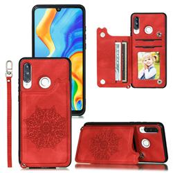 Luxury Mandala Multi-function Magnetic Card Slots Stand Leather Back Cover for Huawei P30 Lite - Red