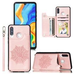 Luxury Mandala Multi-function Magnetic Card Slots Stand Leather Back Cover for Huawei P30 Lite - Rose Gold