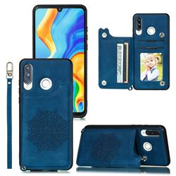 Luxury Mandala Multi-function Magnetic Card Slots Stand Leather Back Cover for Huawei P30 Lite - Blue