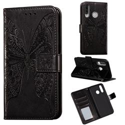 Intricate Embossing Vivid Butterfly Leather Wallet Case for Huawei P30 Lite - Black