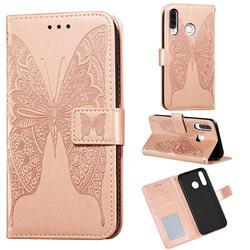 Intricate Embossing Vivid Butterfly Leather Wallet Case for Huawei P30 Lite - Rose Gold