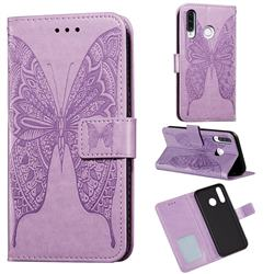 Intricate Embossing Vivid Butterfly Leather Wallet Case for Huawei P30 Lite - Purple