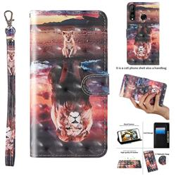 Fantasy Lion 3D Painted Leather Wallet Case for Huawei P30 Lite