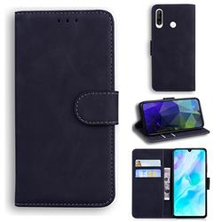 Retro Classic Skin Feel Leather Wallet Phone Case for Huawei P30 Lite - Black