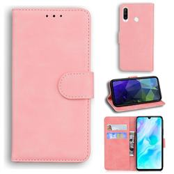 Retro Classic Skin Feel Leather Wallet Phone Case for Huawei P30 Lite - Pink