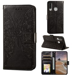 Intricate Embossing Rose Flower Butterfly Leather Wallet Case for Huawei P30 Lite - Black
