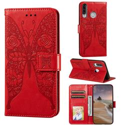 Intricate Embossing Rose Flower Butterfly Leather Wallet Case for Huawei P30 Lite - Red