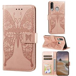 Intricate Embossing Rose Flower Butterfly Leather Wallet Case for Huawei P30 Lite - Rose Gold