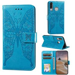 Intricate Embossing Rose Flower Butterfly Leather Wallet Case for Huawei P30 Lite - Blue