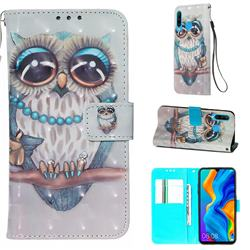 Sweet Gray Owl 3D Painted Leather Wallet Case for Huawei P30 Lite