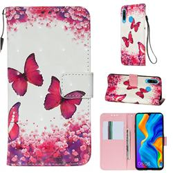 Rose Butterfly 3D Painted Leather Wallet Case for Huawei P30 Lite