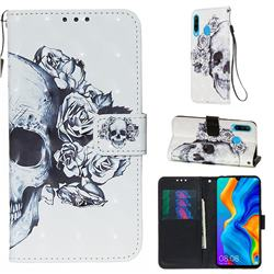 Skull Flower 3D Painted Leather Wallet Case for Huawei P30 Lite