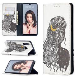Girl with Long Hair Slim Magnetic Attraction Wallet Flip Cover for Huawei P30 Lite