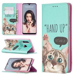 Hand Up Cat Slim Magnetic Attraction Wallet Flip Cover for Huawei P30 Lite