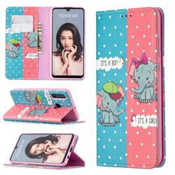 Elephant Boy and Girl Slim Magnetic Attraction Wallet Flip Cover for Huawei P30 Lite