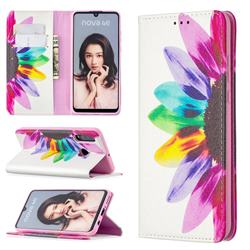 Sun Flower Slim Magnetic Attraction Wallet Flip Cover for Huawei P30 Lite