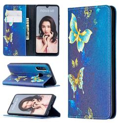 Gold Butterfly Slim Magnetic Attraction Wallet Flip Cover for Huawei P30 Lite
