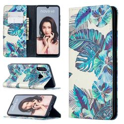 Blue Leaf Slim Magnetic Attraction Wallet Flip Cover for Huawei P30 Lite