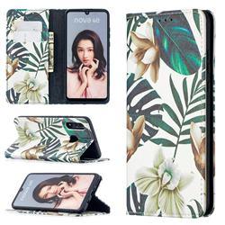 Flower Leaf Slim Magnetic Attraction Wallet Flip Cover for Huawei P30 Lite