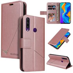 GQ.UTROBE Right Angle Silver Pendant Leather Wallet Phone Case for Huawei P30 Lite - Rose Gold