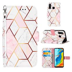 Pink White Stitching Color Marble Leather Wallet Case for Huawei P30 Lite