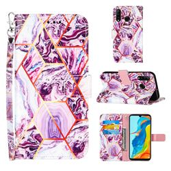 Dream Purple Stitching Color Marble Leather Wallet Case for Huawei P30 Lite