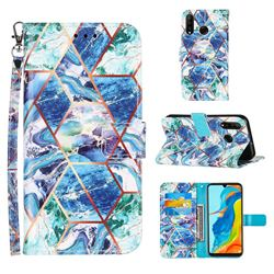 Green and Blue Stitching Color Marble Leather Wallet Case for Huawei P30 Lite