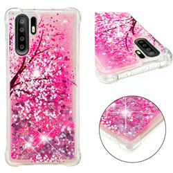 Pink Cherry Blossom Dynamic Liquid Glitter Sand Quicksand Star TPU Case for Huawei P30 Pro