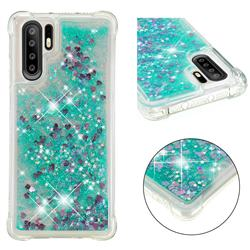Dynamic Liquid Glitter Sand Quicksand TPU Case for Huawei P30 Pro - Green Love Heart