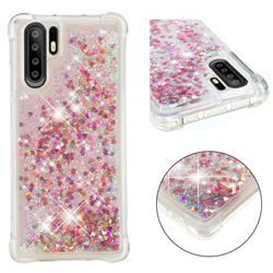 Dynamic Liquid Glitter Sand Quicksand TPU Case for Huawei P30 Pro - Rose Gold Love Heart