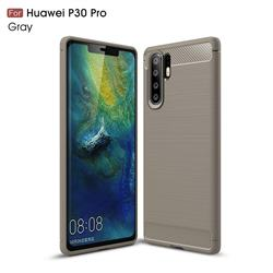 Luxury Carbon Fiber Brushed Wire Drawing Silicone TPU Back Cover for Huawei P30 Pro - Gray