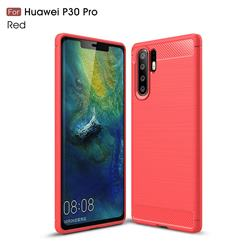 Luxury Carbon Fiber Brushed Wire Drawing Silicone TPU Back Cover for Huawei P30 Pro - Red