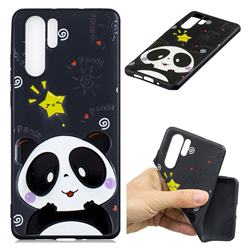 Cute Bear 3D Embossed Relief Black TPU Cell Phone Back Cover for Huawei P30 Pro