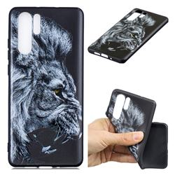 Lion 3D Embossed Relief Black TPU Cell Phone Back Cover for Huawei P30 Pro