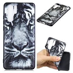 White Tiger 3D Embossed Relief Black TPU Cell Phone Back Cover for Huawei P30 Pro