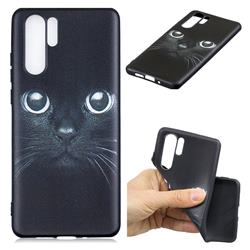 Bearded Feline 3D Embossed Relief Black TPU Cell Phone Back Cover for Huawei P30 Pro