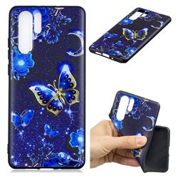 Phnom Penh Butterfly 3D Embossed Relief Black TPU Cell Phone Back Cover for Huawei P30 Pro